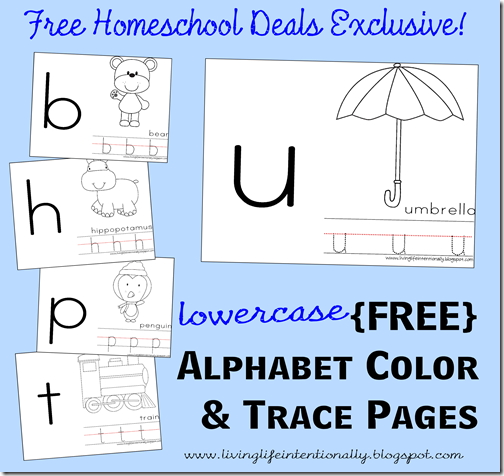 Free Lowercase Alphabet Color and Trace Pages Free