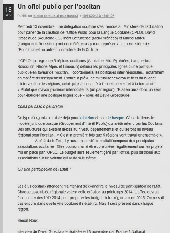 Blòg de France 3 e entrevista de david grosclaude