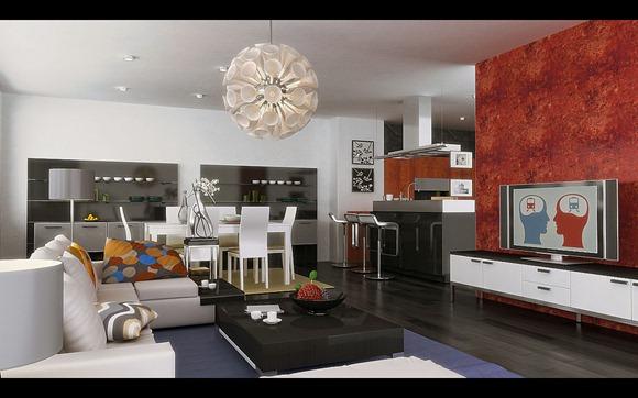 Moderno salón con accesorios de color rojo