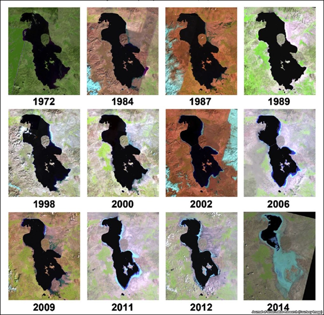 Satellite images of the dessication of Lake Urmia, Iran, 1972-2014. Photo: Kaveh Madani / AghaKouchak, et al., 2014