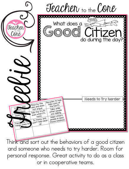 Freebie about Citizenship from Teacher to the Core