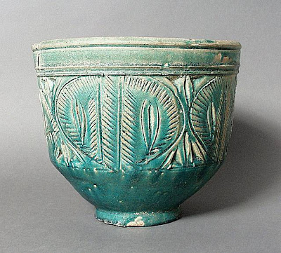Bowl Iran Bowl, 8th-9th century Ceramic; Vessel, Earthenware, underglaze painted, 10 1/8 x 11 5/8 in. (25.72 x 29.53 cm) The Nasli M. Heeramaneck Collection, gift of Joan Palevsky (M.73.5.228) Art of the Middle East: Islamic Department.