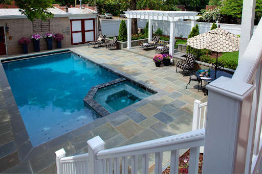 Pool and Hot Tub Nestled in the corner of the Pool is a large hot tub, available year round. photo by Lee Brauer