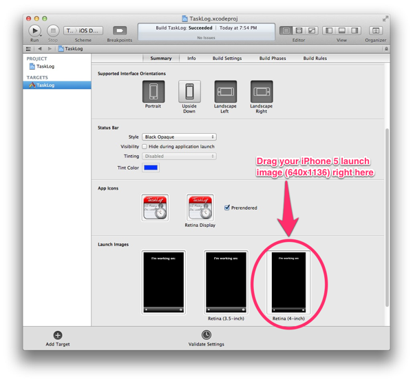 iPhone 5 launch image in Xcode