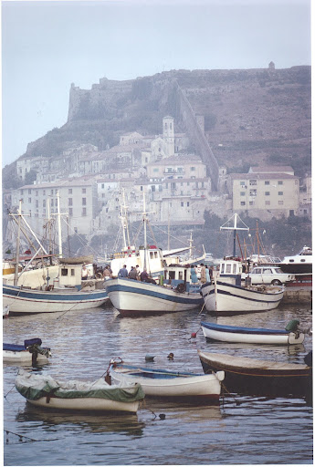 August 1967. La Rocca Spagnola, the fortress on the hill in the distance, was built by Philip II of Spain in the 16th century.