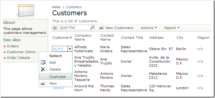 Activating 'Duplicate' context menu option for a Customers record.