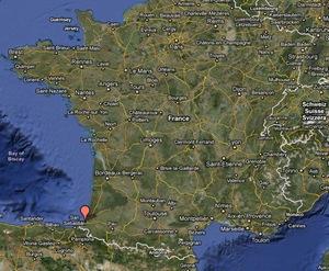 Mapa da França - Biarritz