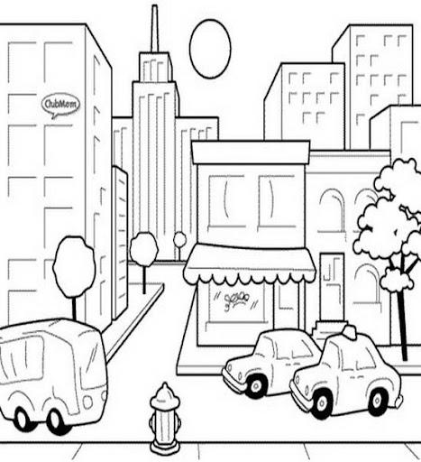 Ciudad para colorear infantiles - Imagui