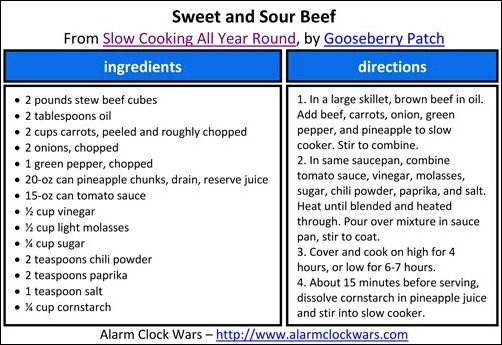 sweet and sour beef recipe card
