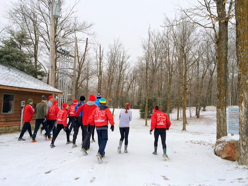 Members of the St Paul Highland Park ski team heading out for a trail run adventure
