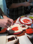 Scott used a paintbrush to transform his apple stamp into a heart shape.