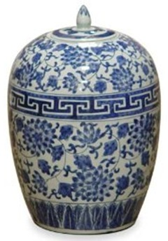 blue and white porcelain chinese melon jar