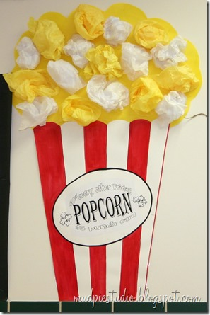 PTA and popcorn bulletin boards