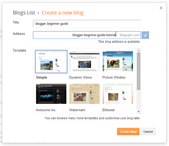Blogger Title and Blogger Address