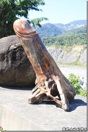 寶來-芳晨溫泉渡假村。泡過湯之後在渡假村內到處晃晃,其實也沒有太多地方可以晃啦!不過怎麼有一個裝飾品這麼性目啊!看樣子應該是根漂流木作成的。