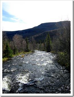 Dags att passera över ett större vatten igen. Glad att de byggt broar. Här är det Tjoaltajåhkå uppströms...