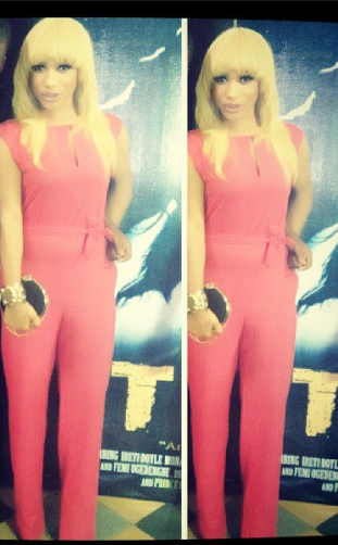 (SNM PHOTO) TONTO DIKE AND HER BLONDE HAIR AT TORN MOVIE PREMIERE