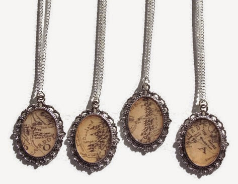 Lord of the Rings Middle Earth Map Necklaces from Jewellery By Lizzie G