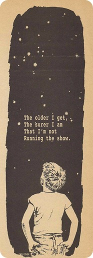 The older I get, the surer I am that im not running the show