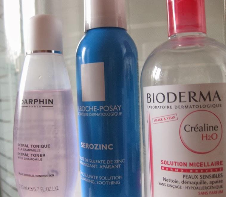 Darphin-Intral-Toner,La-Roche-Posay-Serozinc, Bioderma-Sensibio-Crealine-h20-Micellar