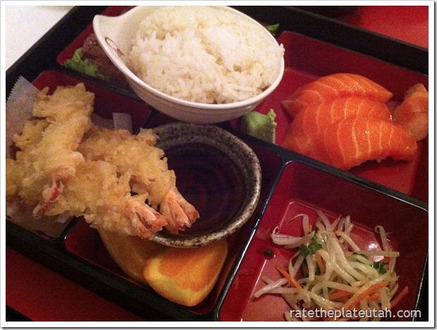 Meiko Sushi Salmon Sashimi Tempura Dinner