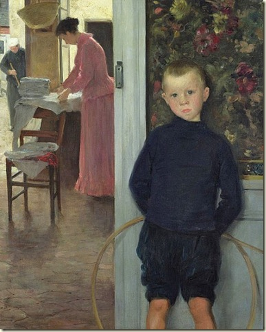 7 Paul Mathey (French artist, 1844-1929)Interior with Woman and Child