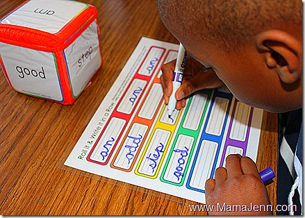 Education Cubes: Roll it &amp; Write it in a Row Spelling Activity