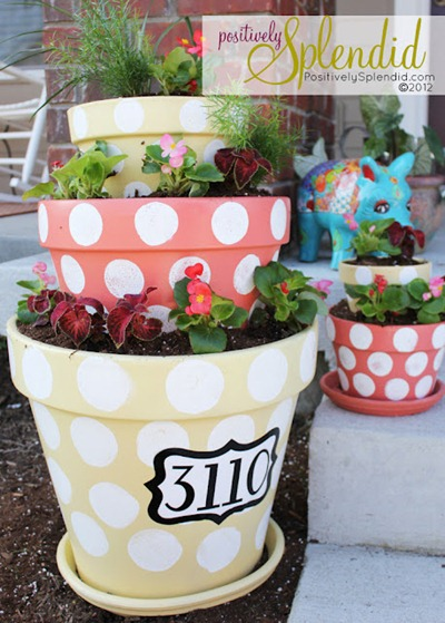 polka dot planters tutorial