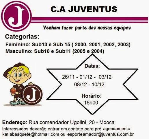 convite para peneira - Juventus 2015