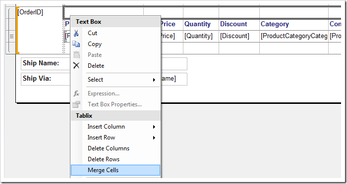 Merging the cells in the added row.