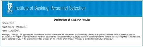 ibps-po-results-2012,ibps po 2012 scores,how to know scores of ibps po 2012 exam