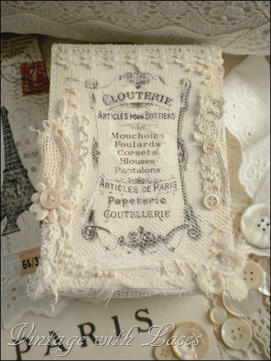 Altered box with lace and French label