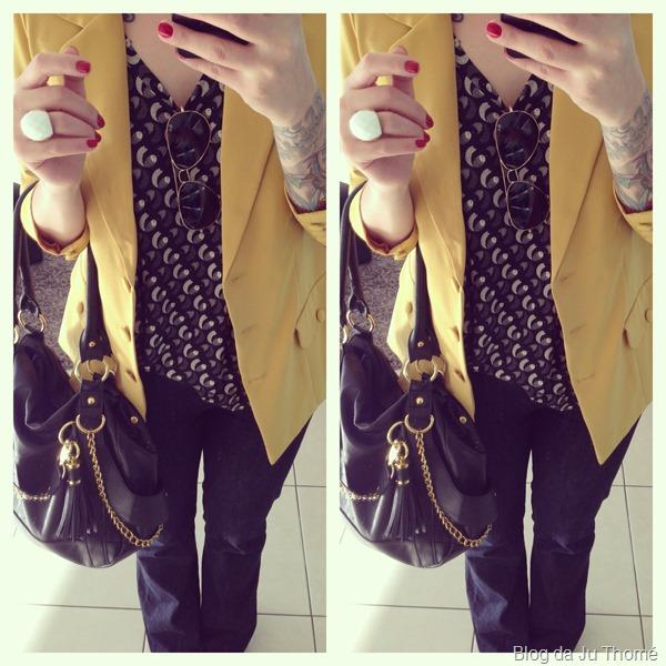 look jeans flare, blazer mostarda e bolsa preta (2)