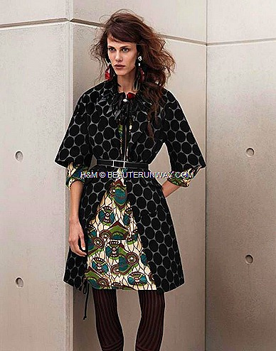Marni H&M Green Printed Dress, Black Polka Dot Print Coat,  Black Flower Necklace  Earring, Black Belt, Stripe Brown and Black leggings