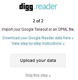Importar marcadores de Google Reader - Importar OPML en Digg Reader