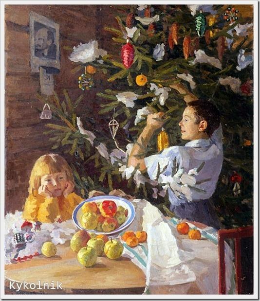 Дунчев Сергей Яковлевич (Россия, 1916 -  2004) «Под Новый год» 1951(2)