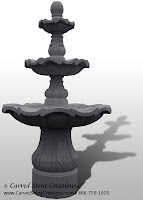 3-Tiered Scalloped Fountain, D54 x H96, Charcoal Grey Granite