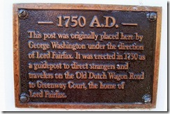 Plaque located on the White Post Column