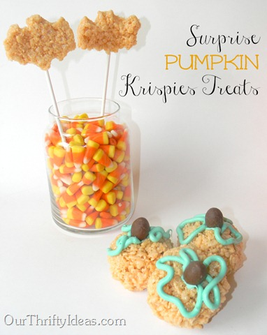 Our Thrifty Ideas: Rice Krispies Surprise Pumpkin Treat with a mini candy bar inside