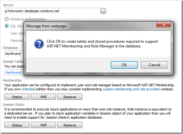 Adding ASP.NET Membership and Roles provider into the database.