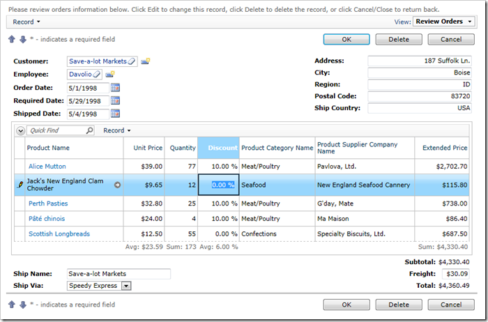 Order Form with Order Details in Data Sheet View