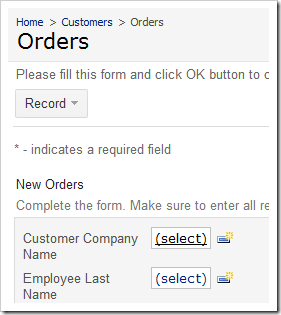 Customer Company Name lookup link on New Orders form