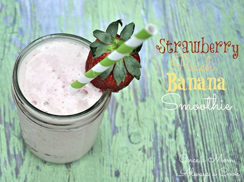 strwberry, peach. banana smoothie