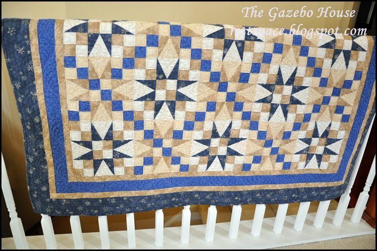 Indigo Stars quilt 015