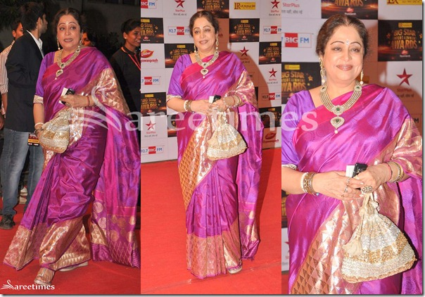 Kirron_Kher_Purple_Silk_Saree