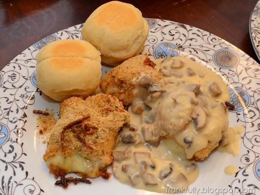 mozzarella and basil stuffed chicken with mushroom sauce
