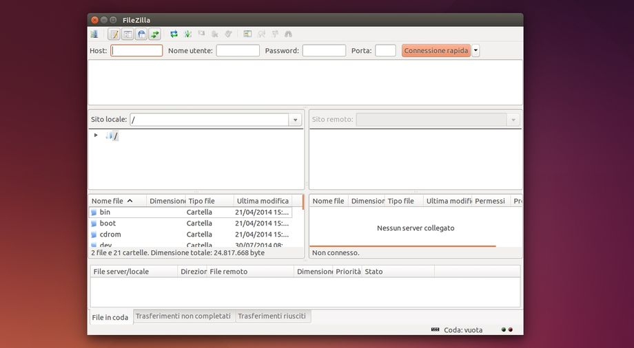 FileZilla in Ubuntu
