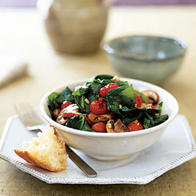 Collard Salad with Roasted Tomatoes, Bacon, and Mushrooms