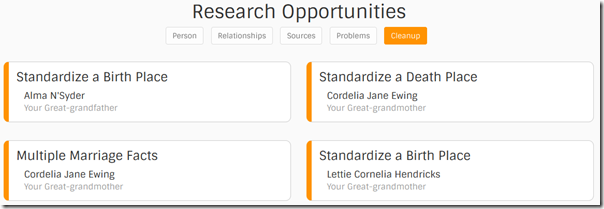 Find-a-Record research opportunities: cleanup