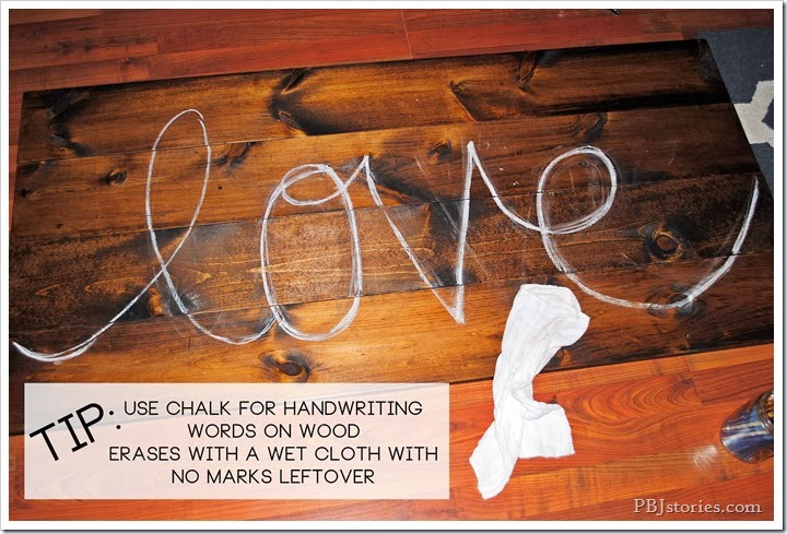 writing with chalk on wood